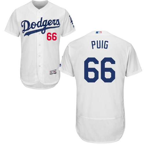 Men's Majestic Los Angeles Dodgers #66 Yasiel Puig White Home Flex Base Authentic Collection MLB Jersey
