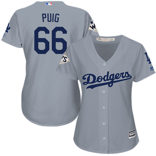 Women's Majestic Los Angeles Dodgers #66 Yasiel Puig Authentic Grey Road 2017 World Series Bound Cool Base MLB Jersey