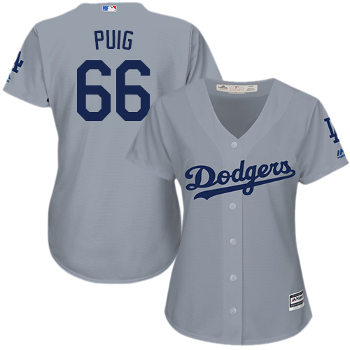 Women's Majestic Los Angeles Dodgers #66 Yasiel Puig Authentic Grey Road Cool Base MLB Jersey