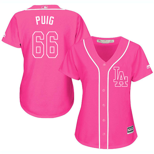 Women's Majestic Los Angeles Dodgers #66 Yasiel Puig Authentic Pink Fashion Cool Base MLB Jersey