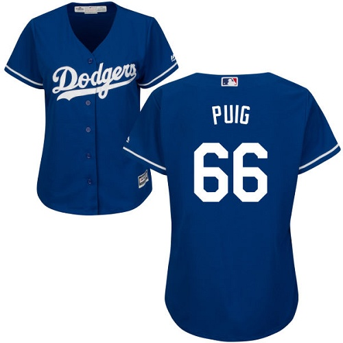 Women's Majestic Los Angeles Dodgers #66 Yasiel Puig Authentic Royal Blue Alternate Cool Base MLB Jersey