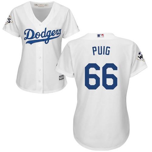 Women's Majestic Los Angeles Dodgers #66 Yasiel Puig Authentic White Home 2017 World Series Bound Cool Base MLB Jersey