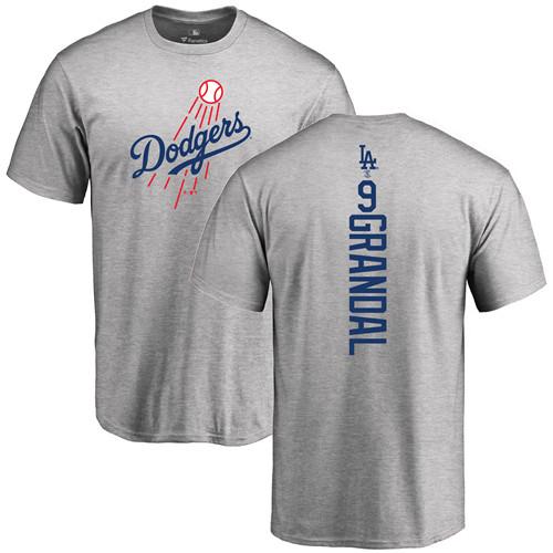 MLB Nike Los Angeles Dodgers #9 Yasmani Grandal Ash Backer T-Shirt