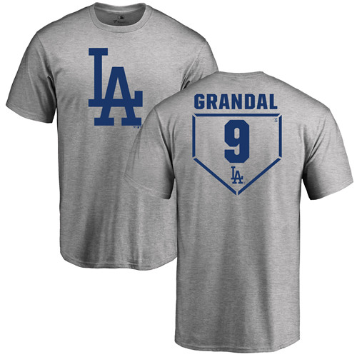 MLB Nike Los Angeles Dodgers #9 Yasmani Grandal Gray RBI T-Shirt