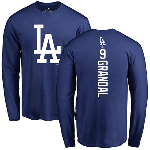 MLB Nike Los Angeles Dodgers #9 Yasmani Grandal Royal Blue Backer Long Sleeve T-Shirt