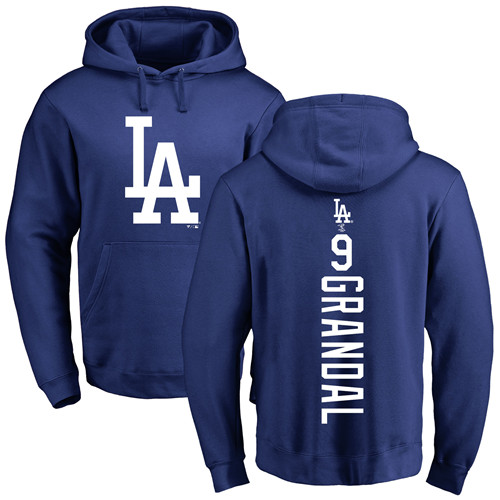 MLB Nike Los Angeles Dodgers #9 Yasmani Grandal Royal Blue Backer Pullover Hoodie