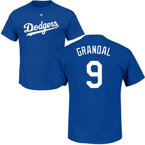 MLB Nike Los Angeles Dodgers #9 Yasmani Grandal Royal Blue Name & Number T-Shirt