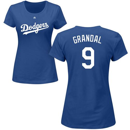 MLB Women's Nike Los Angeles Dodgers #9 Yasmani Grandal Royal Blue Name & Number T-Shirt