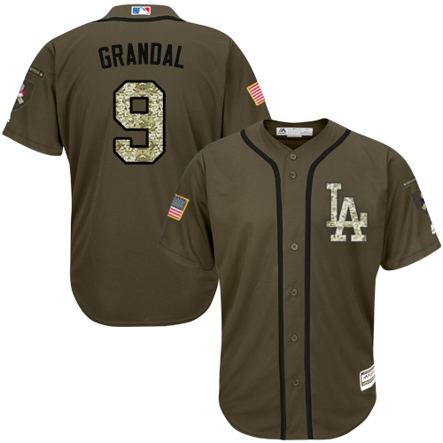 Men's Majestic Los Angeles Dodgers #9 Yasmani Grandal Authentic Green Salute to Service MLB Jersey