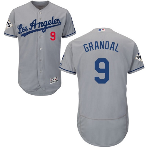 Men's Majestic Los Angeles Dodgers #9 Yasmani Grandal Authentic Grey Road 2017 World Series Bound Flex Base MLB Jersey