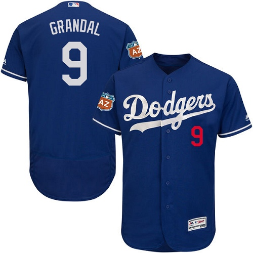 Men's Majestic Los Angeles Dodgers #9 Yasmani Grandal Authentic Royal Blue Alternate Cool Base MLB Jersey