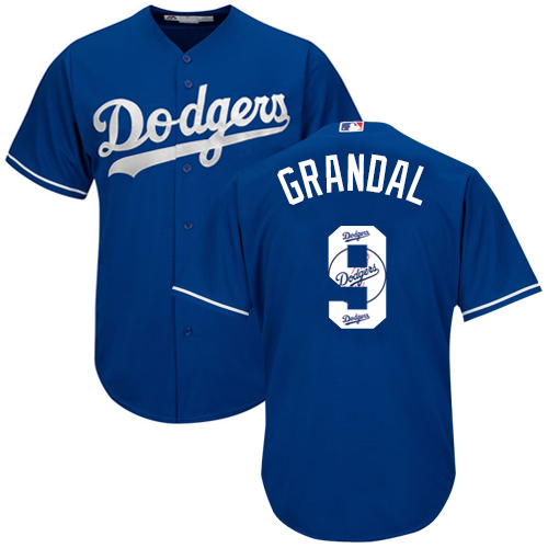 Men's Majestic Los Angeles Dodgers #9 Yasmani Grandal Authentic Royal Blue Team Logo Fashion Cool Base MLB Jersey