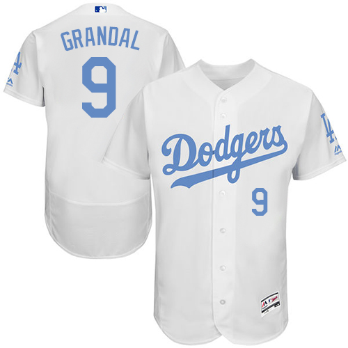 Men's Majestic Los Angeles Dodgers #9 Yasmani Grandal Authentic White 2016 Father's Day Fashion Flex Base MLB Jersey