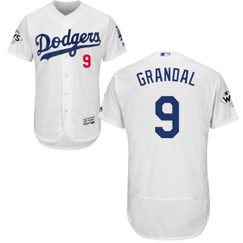 Men's Majestic Los Angeles Dodgers #9 Yasmani Grandal Authentic White Home 2017 World Series Bound Flex Base MLB Jersey