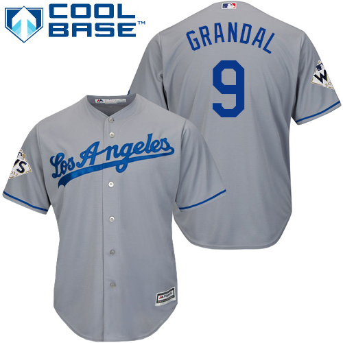 Men's Majestic Los Angeles Dodgers #9 Yasmani Grandal Replica Grey Road 2017 World Series Bound Cool Base MLB Jersey