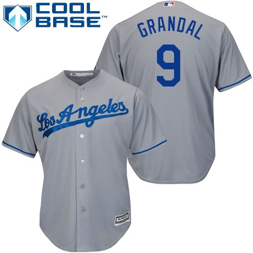 Men's Majestic Los Angeles Dodgers #9 Yasmani Grandal Replica Grey Road Cool Base MLB Jersey