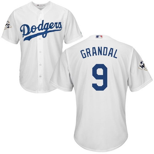 Men's Majestic Los Angeles Dodgers #9 Yasmani Grandal Replica White Home 2017 World Series Bound Cool Base MLB Jersey