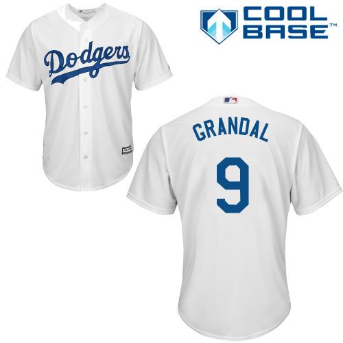 Men's Majestic Los Angeles Dodgers #9 Yasmani Grandal Replica White Home Cool Base MLB Jersey