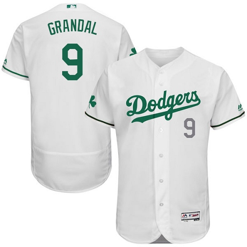 Men's Majestic Los Angeles Dodgers #9 Yasmani Grandal White Celtic Flexbase Authentic Collection MLB Jersey