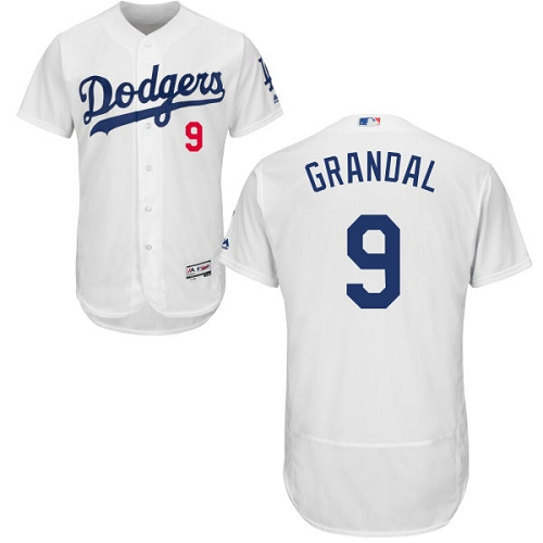 Men's Majestic Los Angeles Dodgers #9 Yasmani Grandal White Home Flex Base Authentic Collection MLB Jersey