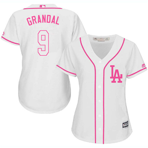 Women's Majestic Los Angeles Dodgers #9 Yasmani Grandal Authentic White Fashion Cool Base MLB Jersey