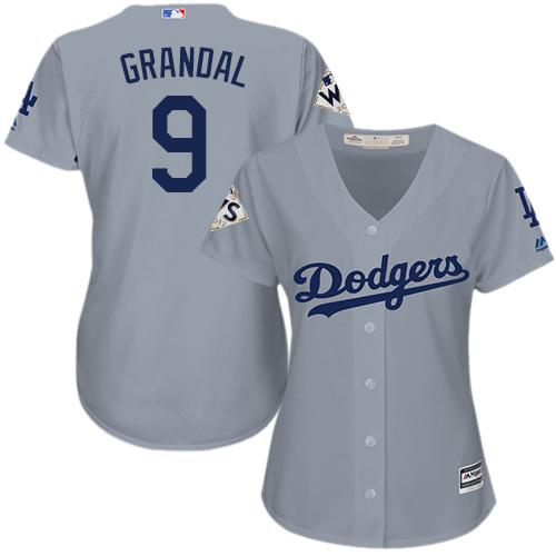 Women's Majestic Los Angeles Dodgers #9 Yasmani Grandal Replica Grey Road 2017 World Series Bound Cool Base MLB Jersey