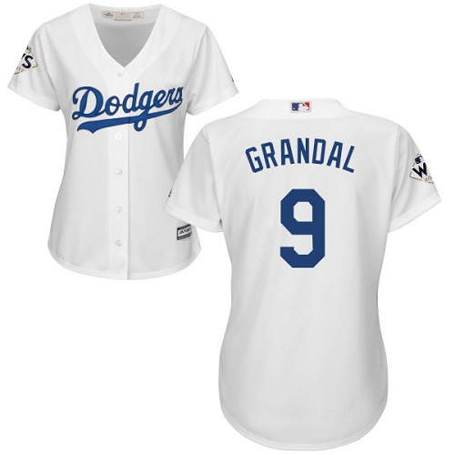 Women's Majestic Los Angeles Dodgers #9 Yasmani Grandal Replica White Home 2017 World Series Bound Cool Base MLB Jersey