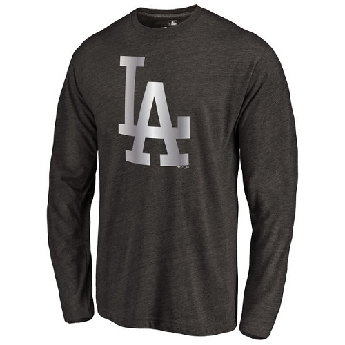 MLB L.A. Dodgers Platinum Collection Long Sleeve Tri-Blend T-Shirt - Black
