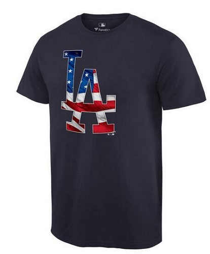 MLB Men's Los Angeles Dodgers Navy Banner Wave T-Shirt