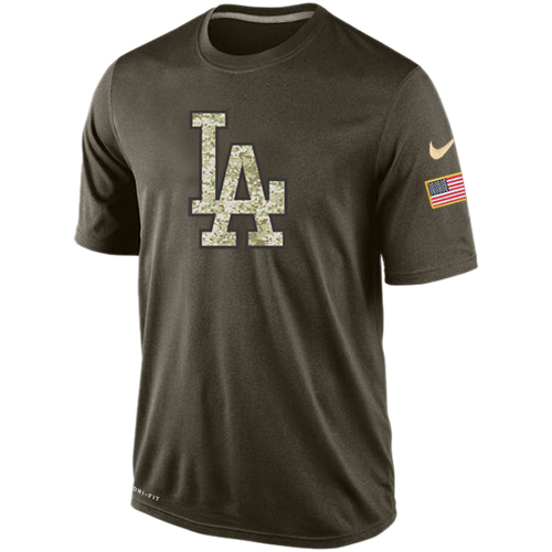 MLB Men's Los Angeles Dodgers Nike Dri-Fit Olive Salute To Service KO Performance T-Shirt