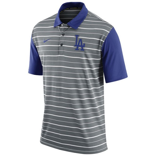 MLB Men's Los Angeles Dodgers Nike Gray Dri-FIT Stripe Polo